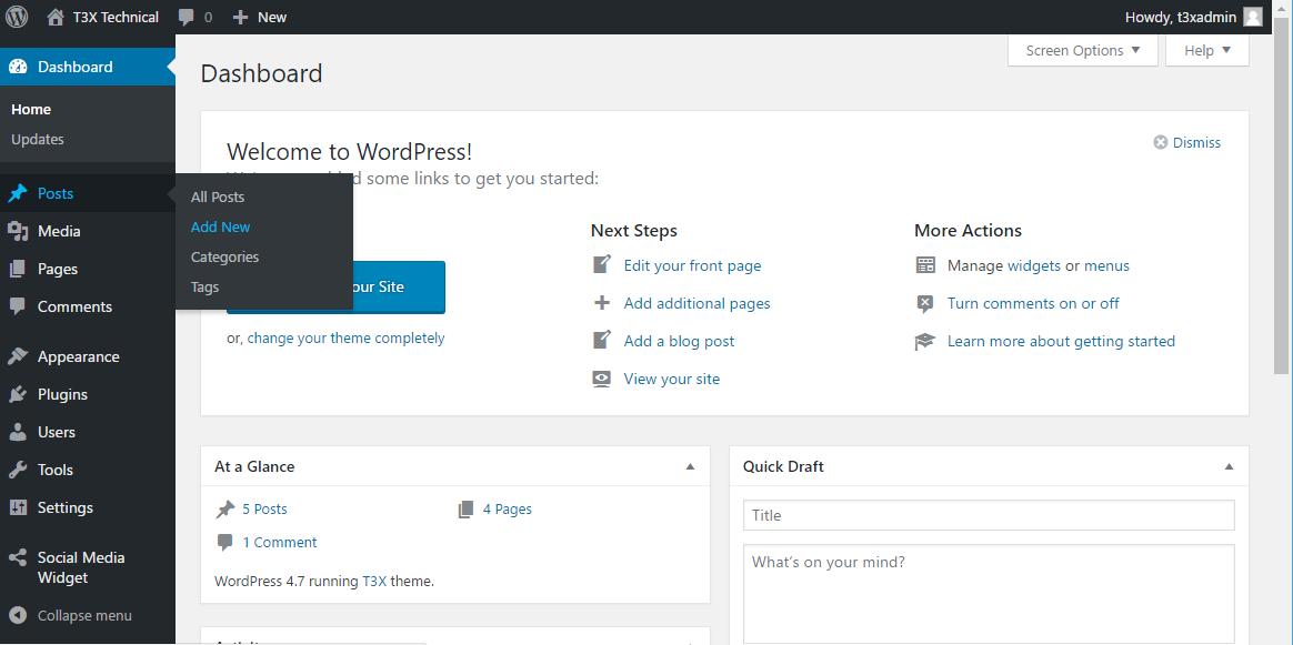 Wordpress opening screen