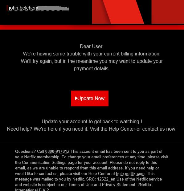 NetFlix scam Update Now